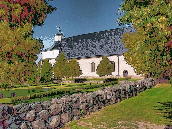Svinnegarns kyka from south. Church south of Enkoeping Sweden