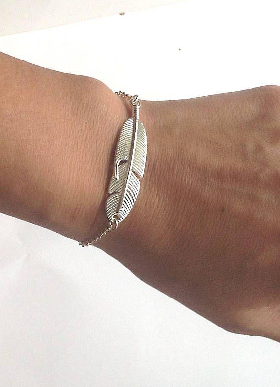 Women S Feather Bracelet Silver Carved Feathers Charm Jewelry Pinterest Braceletall