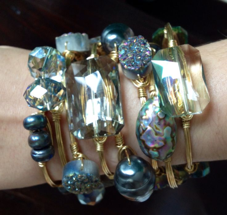 Bourbon and Boweties iridescent sparkly stack! Shop on our Facebook page for the best selection of Bourbon and Boweties bangles, free shipping and the best prices!!