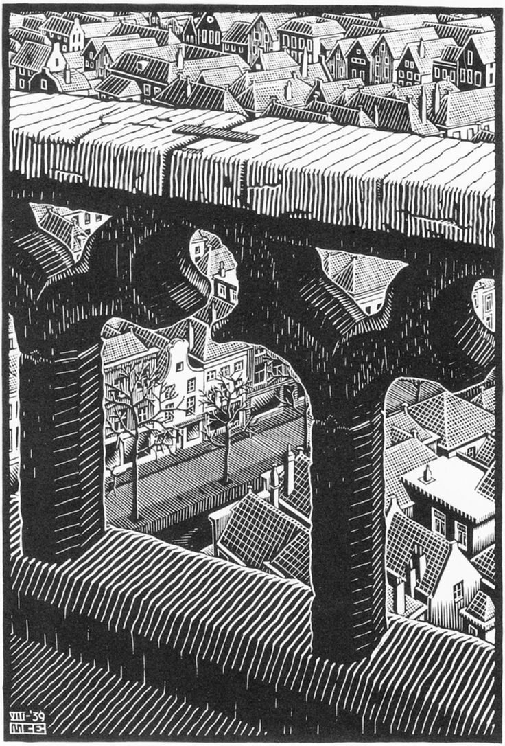 View from the Tower of the Oude Kirk, woodcut by M.C. Escher, 1939