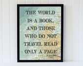 DIY - vintage map art print typography atlas quote home decor travel bookpage motivational dictionary
