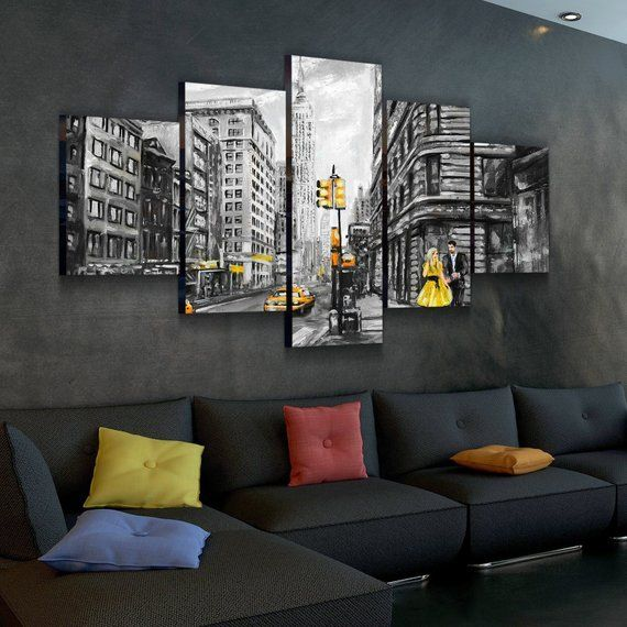 Black And Yellow Empire Abstract Canvas Set Multi Panel Etsy Wall Decor Living Room Rustic Minimalist Living Room Yellow Living Room