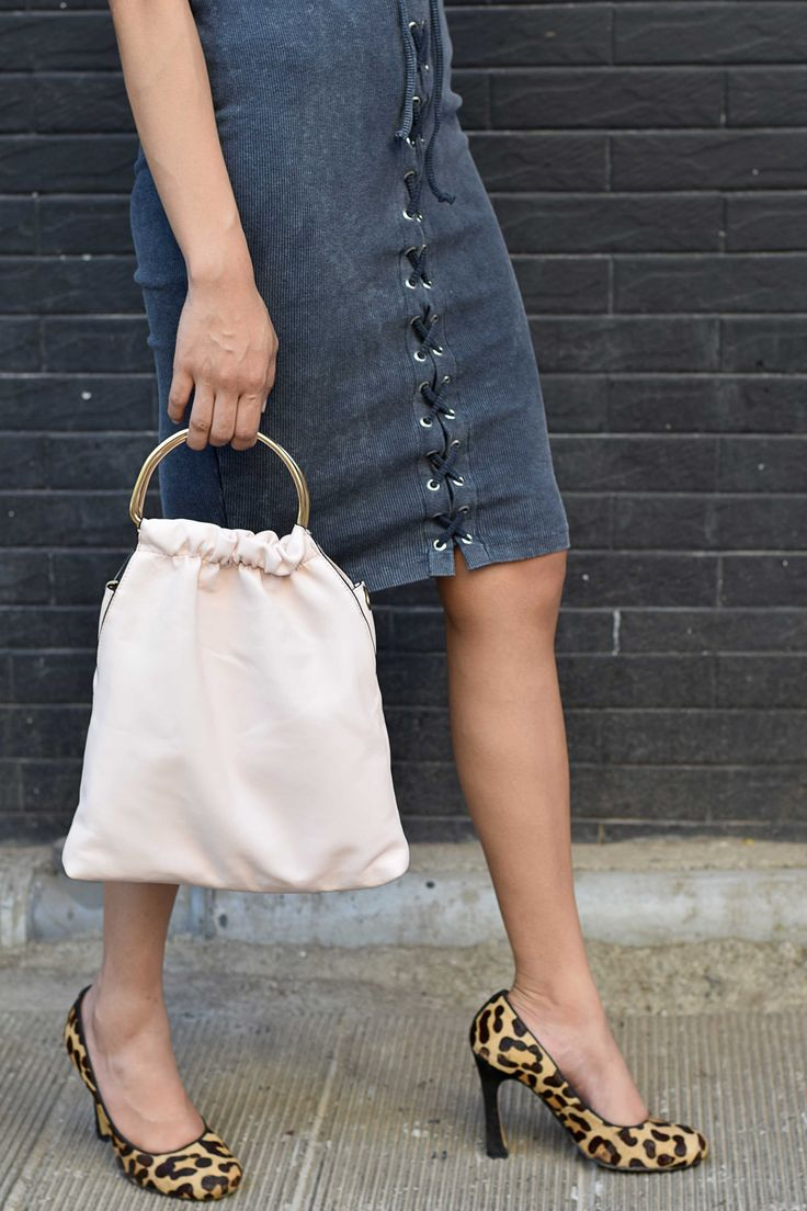 h&m women's metallic choker // h&m top // asos washed lace up pull on pencil skirt // dune round toe court shoes // zara soft tote with metallic handles