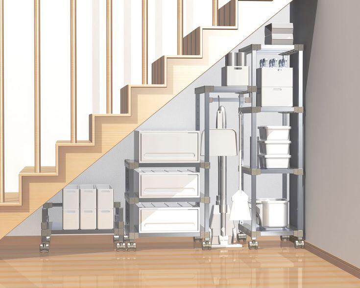 階段下のデッドスペースに合わせて作ったオリジナル収納ラック | オーダーメイド収納棚・ラックならミスターアルマン