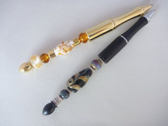 Pen. Lampwork glass bead Pen. Metal pens by ChrysArtGlass on Etsy