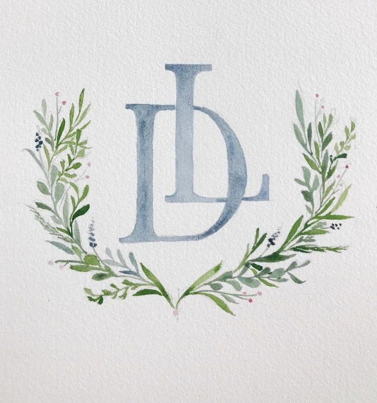 custom wedding crest by Sable and Gray, simple, watercolor crest, LD Monogram, greenery, blue gray, blue grey, wedding heraldry #weddinginvitation