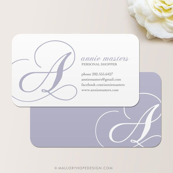 Decorative Initial Personalized Mommy Card / Calling Card / Business Card - CUSTOMIZE Colors and Content