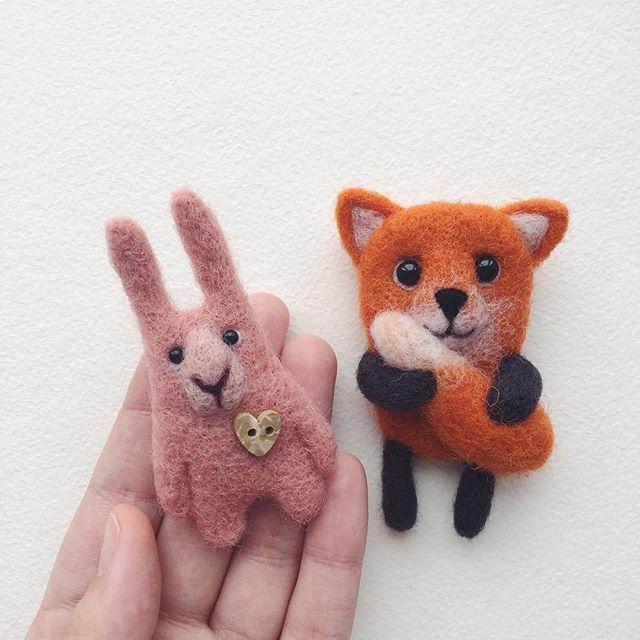 Cute Needle felted project wool animals bunny fox(Via @kuzma.wool)