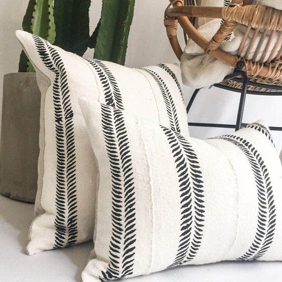 Black Mudcloth Pillow Cover