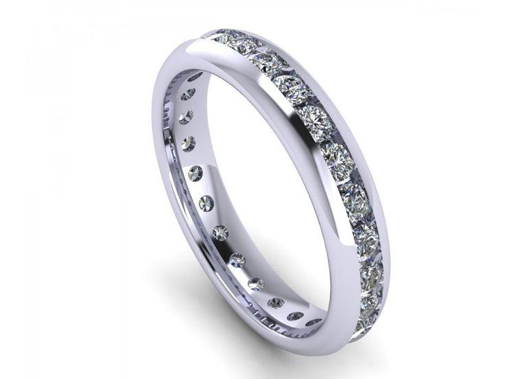 Anello eternity unisex in oro bianco giro completo di diamanti 1 carato G-VS1