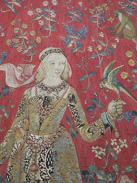 "Musée de cluny.These famous tapestries date from around 1500 and are located in the Musée national du Moyen Âge in Paris. There are 6 tapestries in the set, five depicting the senses of taste, hearing, sight, smell and touch. The last has the motto ""À Mon Seul Désir"" that translates roughly to ""my one desire"". The room that houses the tapestry is very dark with limited lighting to preserve them."