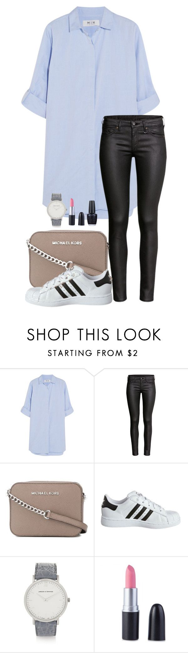 """""""NUMB"""" by eellcat ❤ liked on Polyvore featuring MiH Jeans, H&M, MICHAEL Michael Kors, adidas Originals, Larsson & Jennings and OPI"""