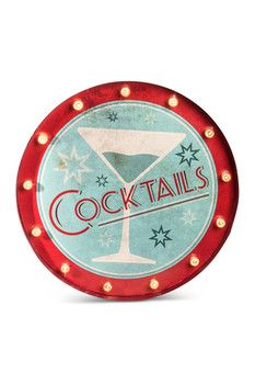 Gerson Company LED Lit Metal Cocktail Sign