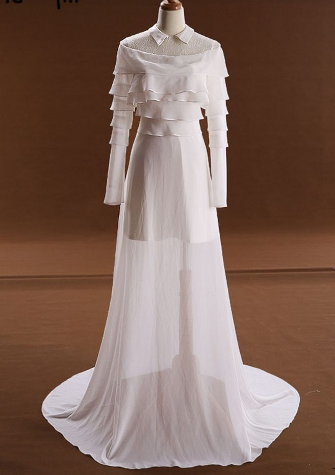 In the senior Olympic committee led silk beach wedding dress party formal long-sleeved sexy dress dress late evening
