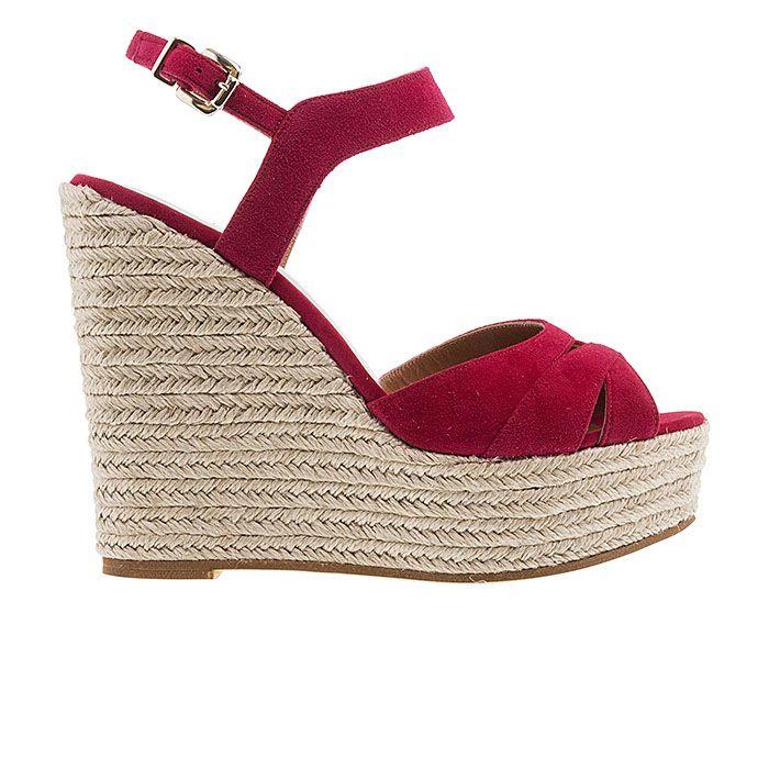 850N17-LIPSTICK SUEDE www.mourtzi.com #wedges#platforms #mourtzi #greekdesigners #redshoes #ss17