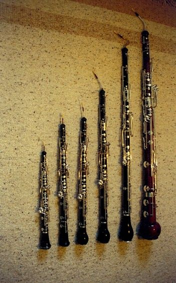 Oboe Family: Left to Right-Musette, Oboe, Oboe D'Amore, English Horn, Bass Oboe and Heckelphone.