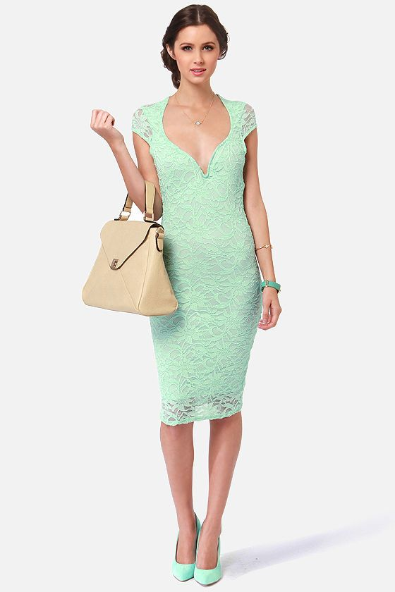 Lovely Mint Green Dress - Lace Dress - Midi Dress - $45.50