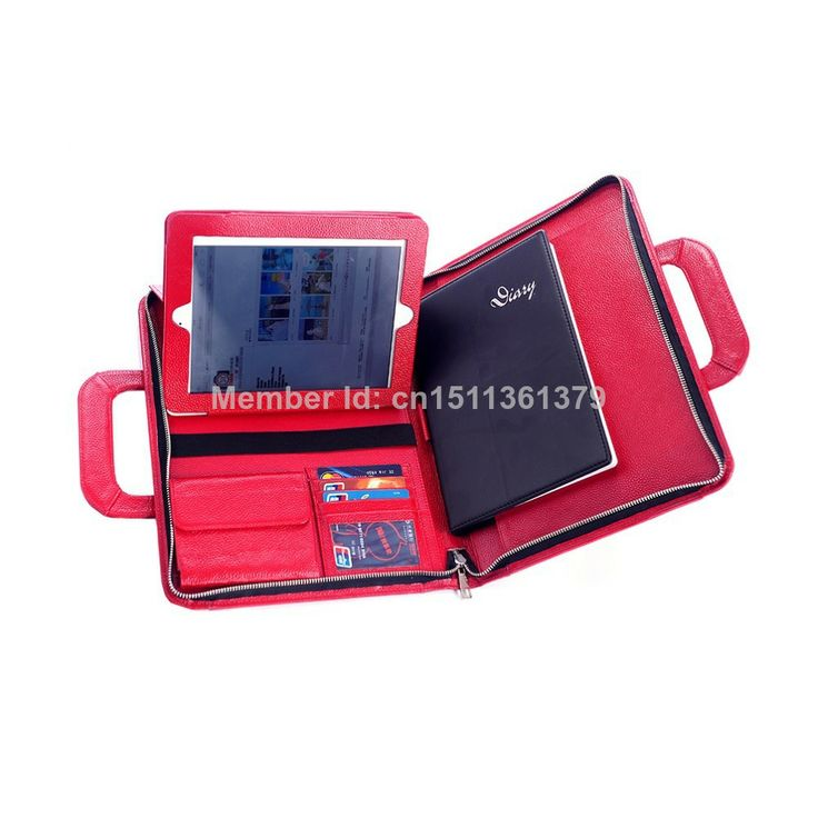Genuine Leather Briefcase with Scalable Handle for iPad Red $109.99