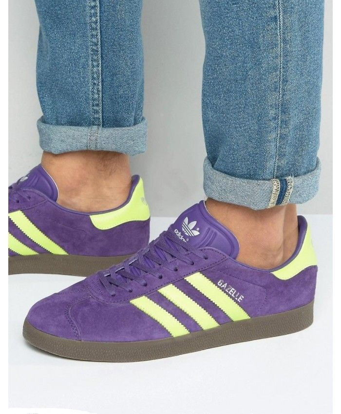 reputable site c5b99 ac3ff Adidas Gazelle Womens Trainers In Unity Purple Yellow