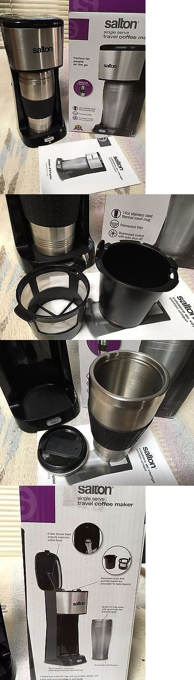 Small Kitchen Appliances: Salton Travel Single Serve Coffee Maker Stainless Steel Thermal Mug New BUY IT NOW ONLY: $39.95