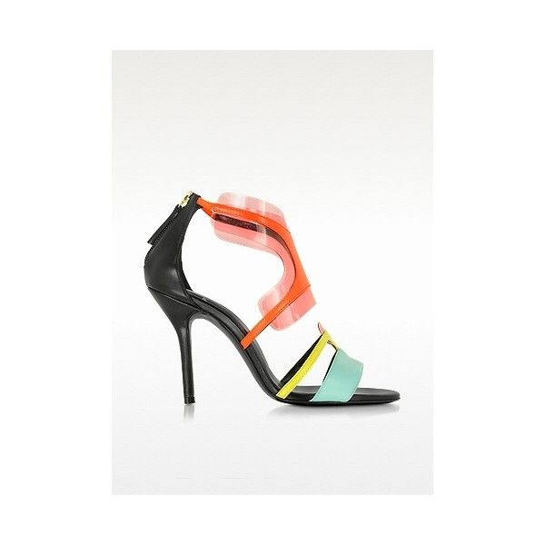 Pierre Hardy Shoes Multi Pool Shades Leather and PVC Sandal ($320) ❤ liked on Polyvore featuring shoes, sandals, multi color sandals, high heel sandals, pink sandals, stiletto sandals and pink shoes