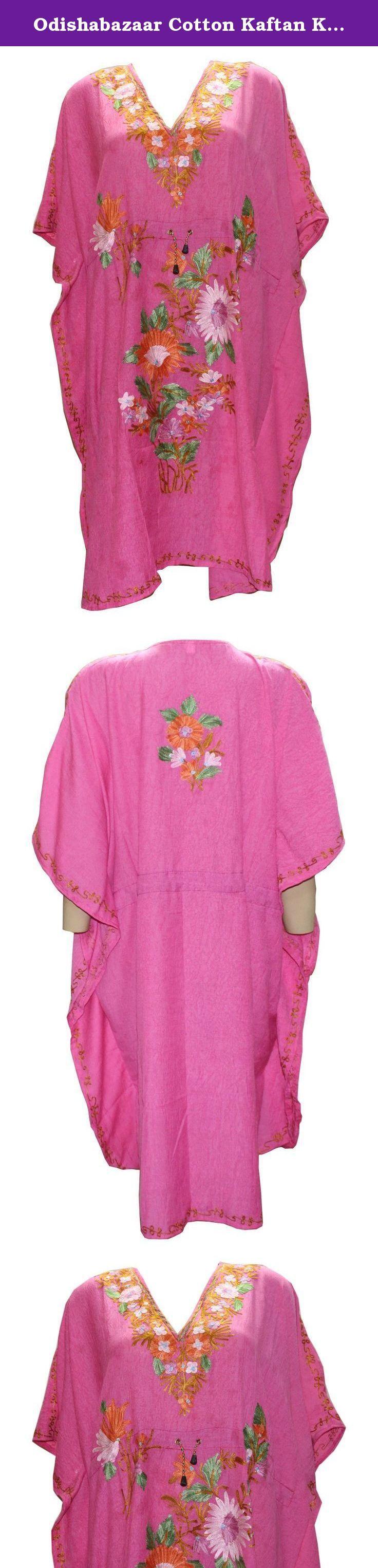 Odishabazaar Cotton Kaftan Kashmiri Embroidered Short Length Dress for Women (multi-3). Short length Kashmiri Kaftan/lounge wear/beach wear/ Sort dress with Ari Embroidered Flowers.