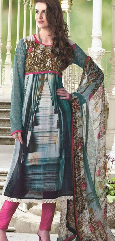 $76.80 Blue Full Sleeve Georgette Long Pakistani Salwar Kameez 20108