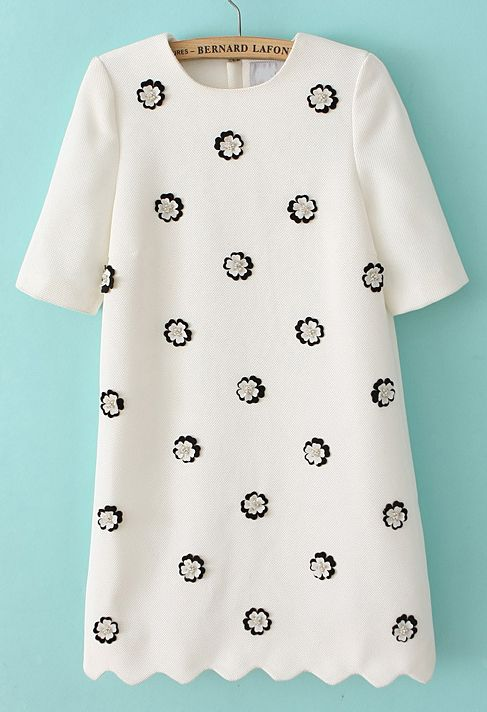 Sold out! White Short Sleeve Applique Bead Straight Dress US$40.98