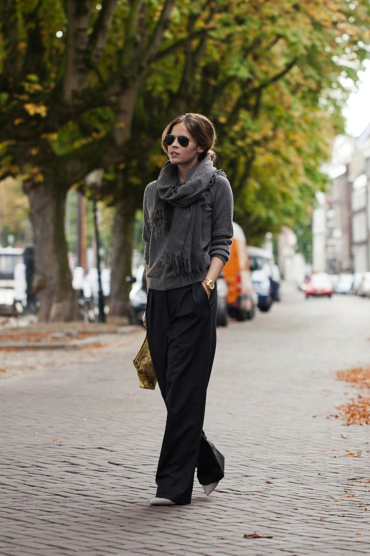 (COS sweater and scarf, Zara trousers and shoes, Acnebag, Michael Kors watch, Feather & Stone ring and Ray-Ban sunglasses)
