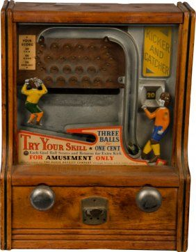"""Coin-Op Countertop Kicker And Catcher Skill Trade Stimulator by The Baker Novelty Company Chicago, Illinois, circa 1933 w/ wood case, """"Try Your Skill Each Goal Ball Scores And Returns For Extra Kick"""""""