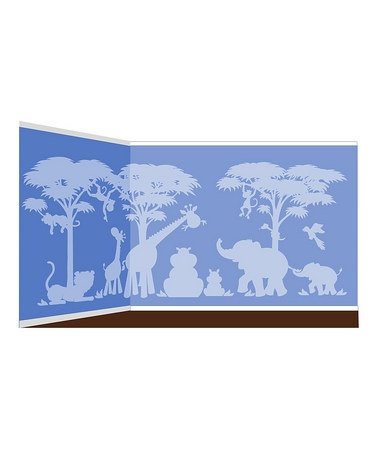 Love this idea for baby boy room. Take a look at this Large Silhouette Safari Paint-By-Number Wall Mural Kit by Elephants on the Wall on #zulily today!