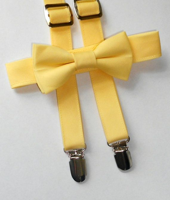 Light Yellow Bowtie and Suspender Set  Infant by kellybowbelly, $35.00