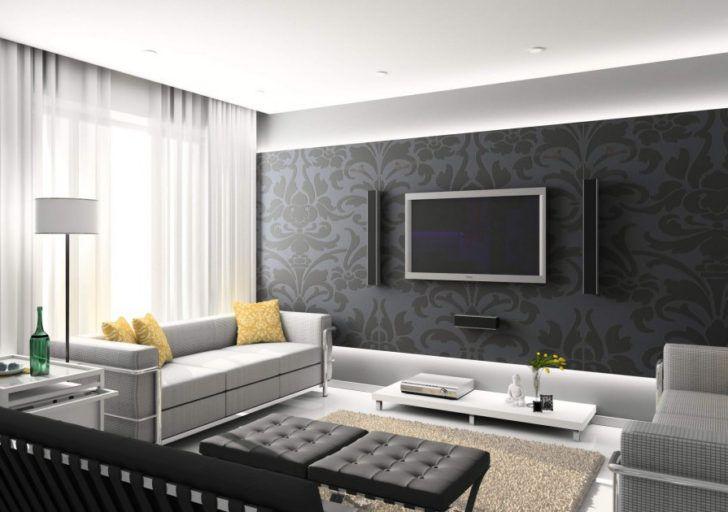 Salon con tv en la pared