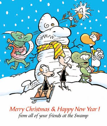 Merry Christmas & Happy New Year Cartoon from the Swamp Characters. www.swamp.com.au