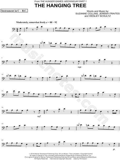 """The Hanging Tree - Bass Clef Instrument"" from 'The Hunger Games: Mockingjay - Part 1' Sheet Music (Cello, Trombone, Bassoon, Baritone Horn or Double Bass) - Download & Print"