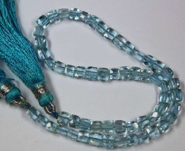 48 CTS - 1 STRAND 3 X 3 MM CUBE TOPAZ BEADS 9 INCHES