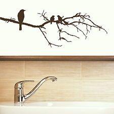 Uccello Su Ramo Muro Adesivo / Decalcomania Grande trasferimento / GRAFICA Stencil LMS / BLK X75