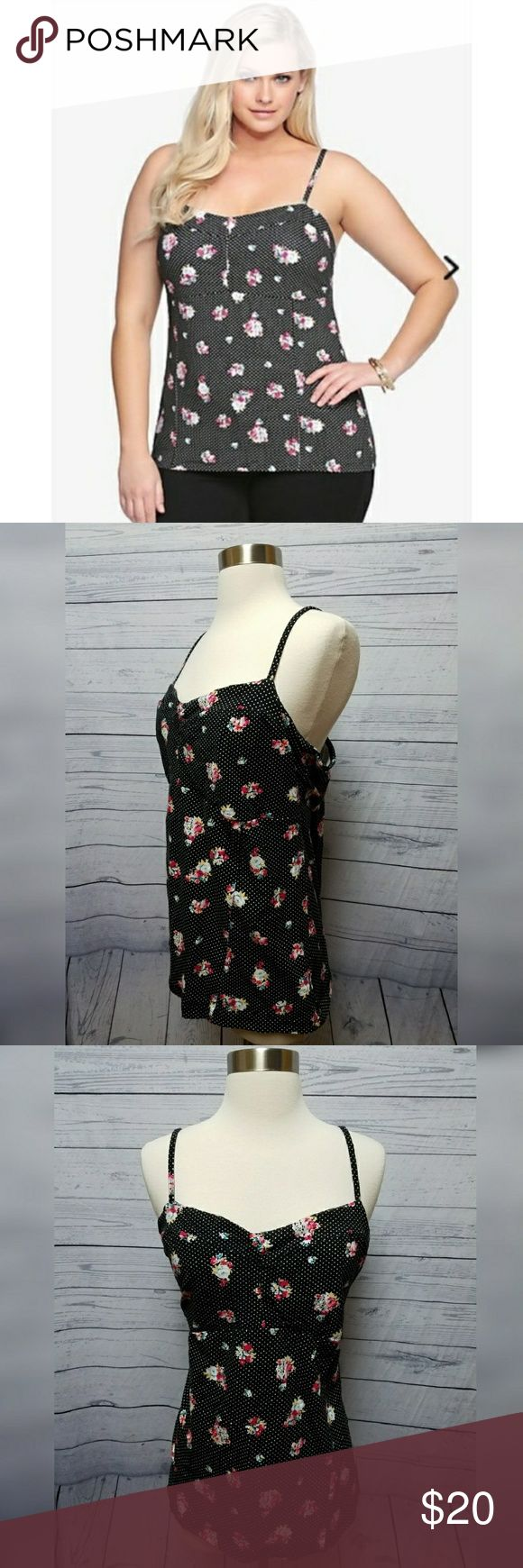 Torrid polka dot floral bustier cami Torrid polka dot floral bustier cami tank top. Women's plus size 3. Excellent used condition. Top is very stretchy. torrid Tops Tank Tops