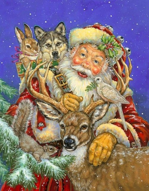 Donna Race:  Santa with Deer and wild animals