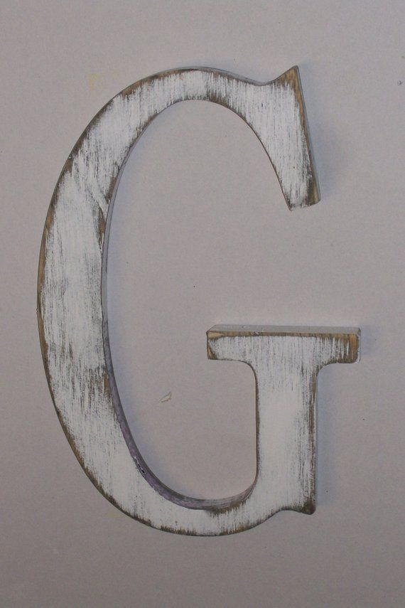 12 Inch Distressed Wood Letter C G Or Any Letter Wall Hanging Monogram Initial How To Distress Wood Wood Letters Letter Wall