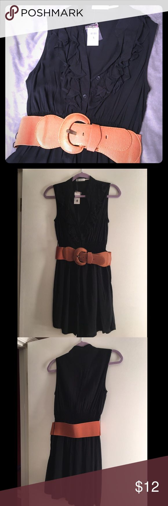 Black Ruffled belted dress Very comfortable!!! Can dress up or down. 100% rayon. Non see through. Comes from smoke free, pet free home. Shipping dates are Tuesday through Friday Body Central Dresses Midi