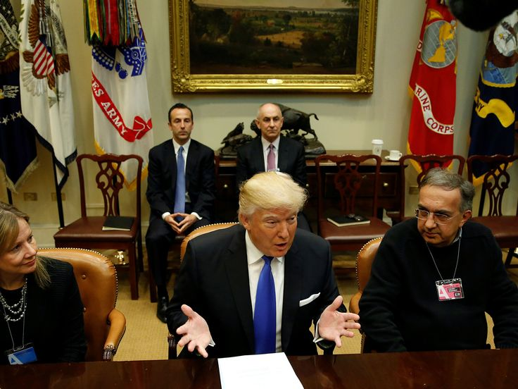 """PresidentDonald Trumphas claimed that""""environmentalism is out of control"""". Mr Trumpwas spendingthe morning meeting with auto executives as part of his push to bring jobs back to the US Mr Trump also told his guestsat the White House that he's looking to ease regulations to help auto companies and any other businesses wishing to do business in the US"""