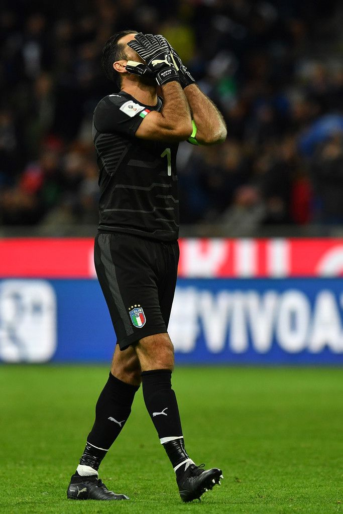 Gianluigi Buffon of Italy reacts during the FIFA 2018 World Cup Qualifier Play-Off: Second Leg between Italy and Sweden at San Siro Stadium on November 13, 2017 in Milan