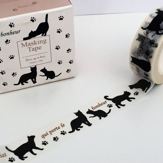 Washi tape roll featuring repeated cat design. This low tack, decorative tape can be used to add both pattern and colour to almost any project including scrapbooking, card making, upcycling and so much more!. Tear it, stick it and decorate away the possibilities are endless! Each roll measures approximately 15mm in width and is 10 metres in length. Decorate your planner or journal, or pretty up anything you can imagine! Love washi tape? Lots more washi tape in my shop here https:/...