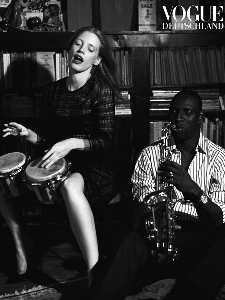 Omar Sy and Jessica Chastain by Bruce Weber for Vogue