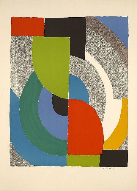 Sonia Delaunay, I like the combination of pencil and paint, gives a contrasting texture