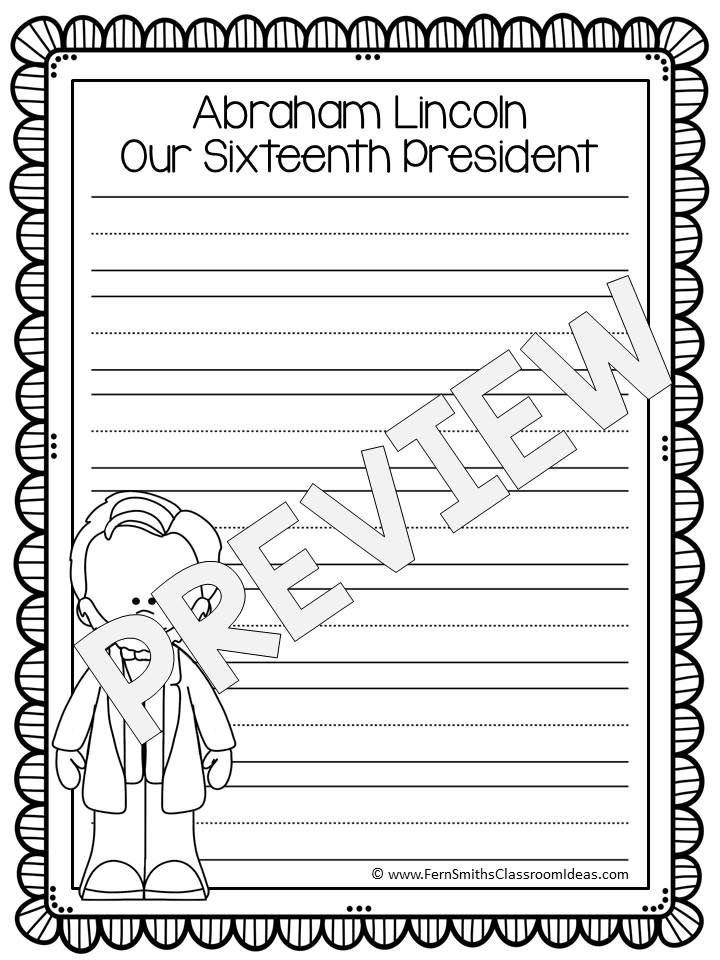FREE Presidents Day Writing Center Printables #FREE #TPT