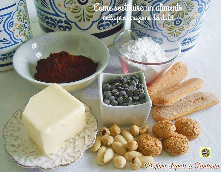 Come sostituire un alimento nella preparazione dei dolci: non abbiamo in dispensa il cioccolato oppure abbiamo terminato il lievito? Ecco come sostituirli!