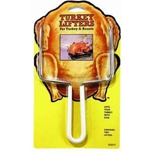 M E Heuck Company 00841 Meat And Turkey Lifter by M E Heuck Company. $5.39. Triple chrome plate. 23 x 13 x 0.5 cm. Set of 2. These triple chrome plated lifters will quickly and easily lift your turkey or roast out of the pan when ready. The lifters have vinyl coated handles to help with grip.