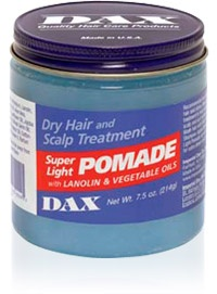 DAX Super Light Pomade is the perfect treatment for preventing dry hair and scalp, as well as dull looking hair. Daily application will help improve the overall condition and appearance of hair.  http://www.imperialdax.com/store/products/DAX_Super_Light_Pomade-12-2.html